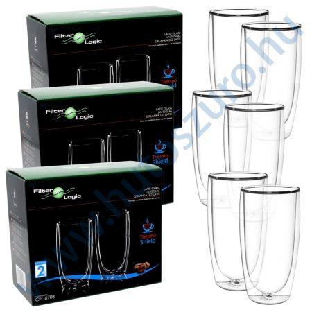 FilterLogic CFL-670B duplafalú thermo latte pohár - 6db
